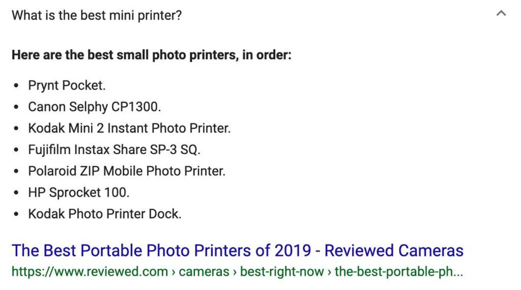 Small photo printer search results
