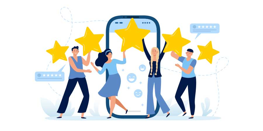 Just in time learning image of happy people with 5 stars