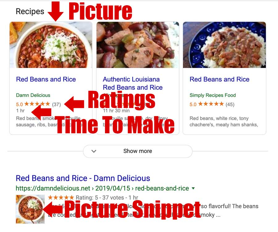 Recipe google serps