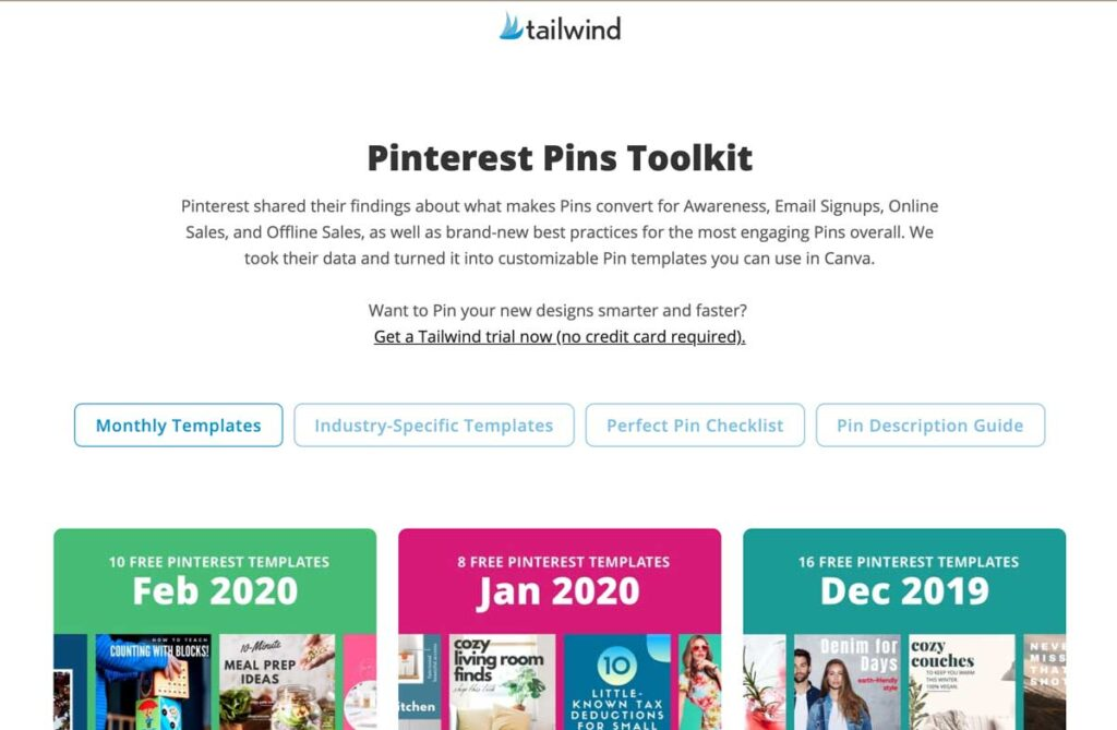 Free Pinterest Pins templates from Taiwind