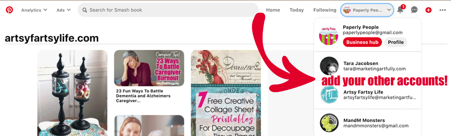 Toggle Through Multiple Accounts On Pinterest