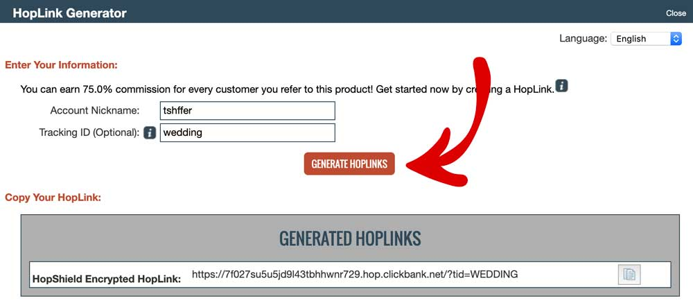 Generate Hoplinks In Clickbank