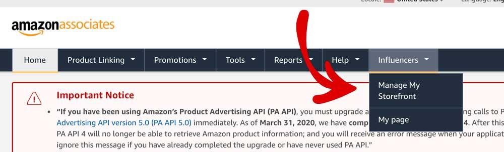 Amazon Associates Storefront Tab