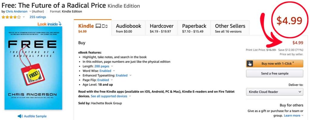 Chris Anderson's Kindle Book About Free Costs $4.99 on Kindle