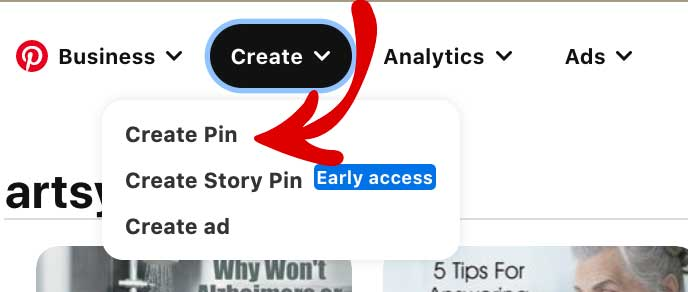 Make a pinterest pin using the create button (top left side of Pinterest)